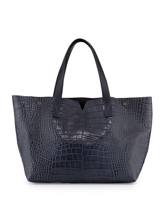 Signature V Crocodile-Embossed Tote Bag