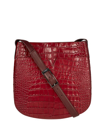 Signature V Croc-Embossed Messenger Bag, Bordeaux