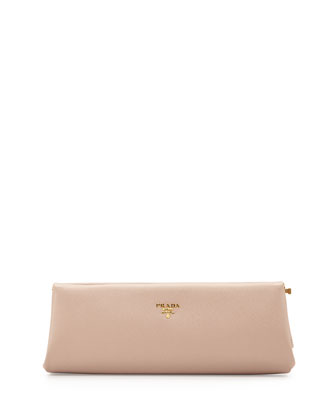 Saffiano East-West Frame Clutch, Blush