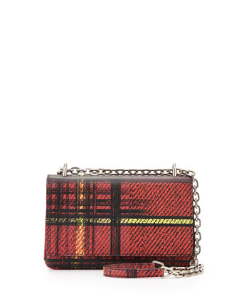 Saffiano Stampato Crossbody Bag, Red Multi (Rosso Dis Tartane)