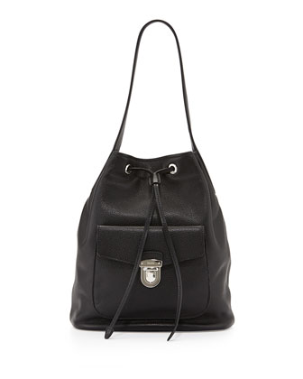 Vitello Daino Bucket Bag, Black (Nero)