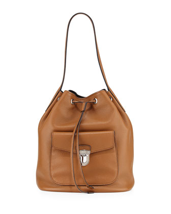 Vitello Daino Bucket Bag, Camel/Black (Canella/Nero)