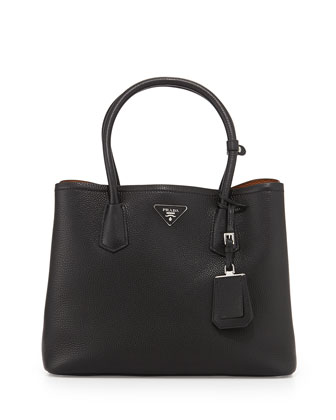 Vitello Daino Medium Double Bag, Black/Tan (Nero+Cuoio)