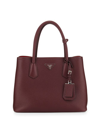 Vitello Daino Small Double Bag, Bordeaux/Red (Granato+Scarlatto)