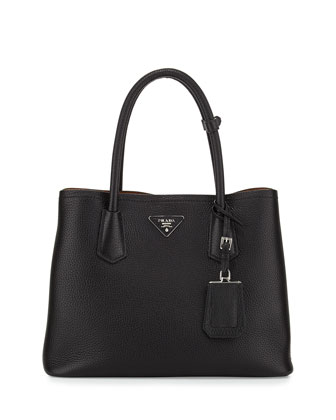 Vitello Daino Small Double Bag, Black/Tan (Nero+Cuoio)