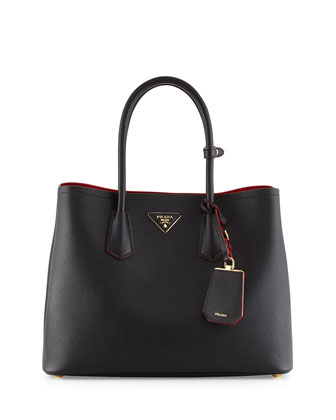 Saffiano Cuir Medium Double-Handle Tote Bag, Black/Red (Nero+Ciliegia)