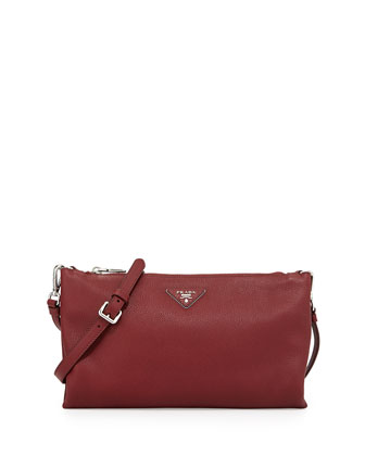 Vitello Daino Crossbody Bag, Burgundy (Cerise)
