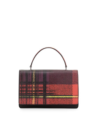 Tessuto and Saffiano Print Top-Handle Bag, Red Multi (Rosso Dis Tartan)