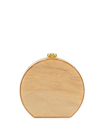 Oscar Half-Moon Acrylic Clutch Bag, Gold Pearlescent