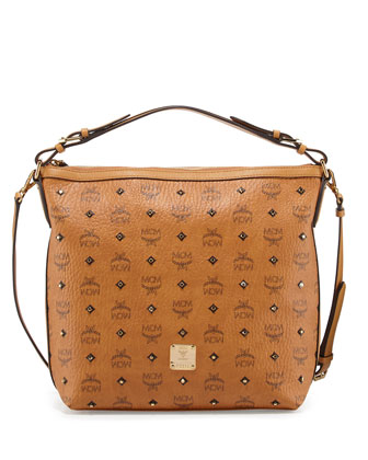 Gold Visetos Hobo Bag, Cognac