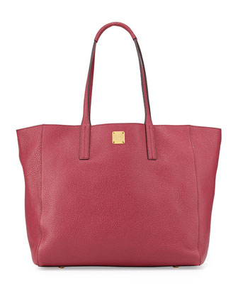 Shopper Project Reversible Leather Tote Bag, Scooter Red/Gold