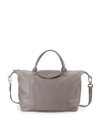 Le Pliage Cuir Tote Bag with Strap, Gray