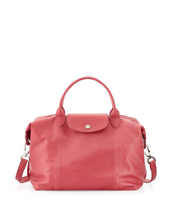 Le Pliage Cuir Tote Bag with Strap, Malabar/Pink
