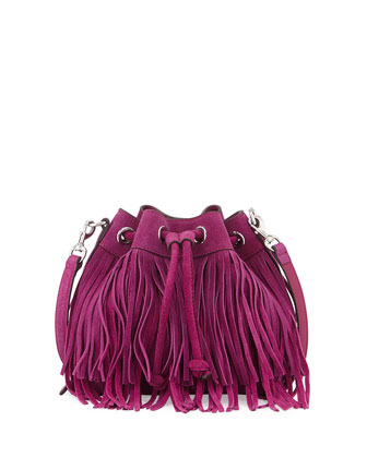 Mini Fiona Fringe Bucket Bag, Magenta