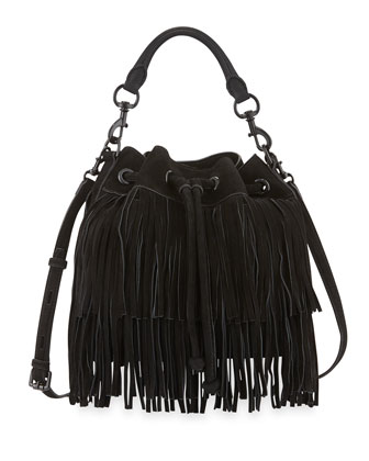 Fiona Suede Fringe Bucket Bag, Black