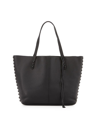 Studded Pebbled Leather Tote Bag, Black