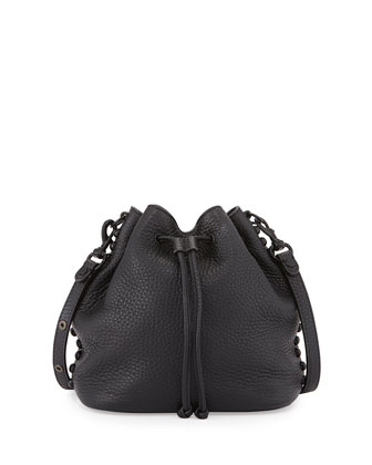 Pebbled Leather Bucket Bag, Black