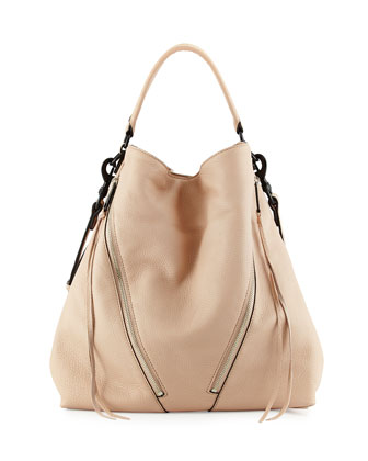 Moto Leather Hobo Bag, Latte