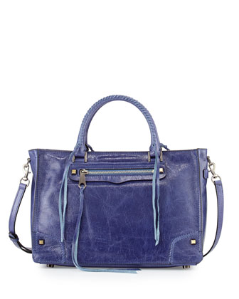 Regan Tumbled Leather Satchel Bag, Deep Denim/Silver