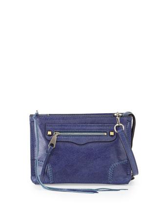 Regan Leather Crossbody Bag, Deep Denim/Silver
