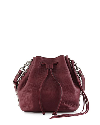 Unlined Pebbled Leather Bucket Bag, Port