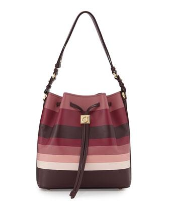 Sansy Striped Bucket Bag, Rouge Noir/Griott