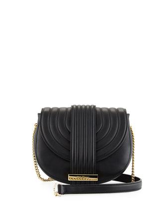 Rosette Small Saddle Crossbody Bag, Nero