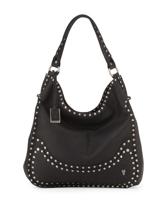 Nikki Nailhead Flap Hobo Bag, Black