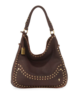 Nikki Nailhead Flap Hobo Bag, Dark Brown