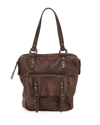 Veronica Leather Shoulder Bag, Maple