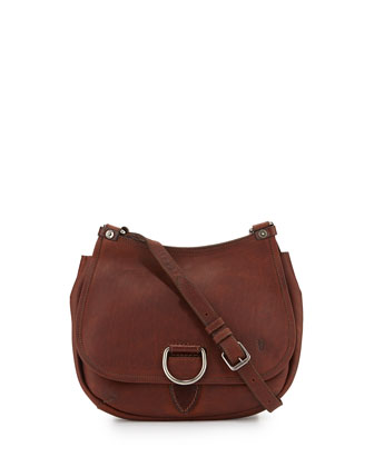 Amy Leather Flap Crossbody Bag, Cognac
