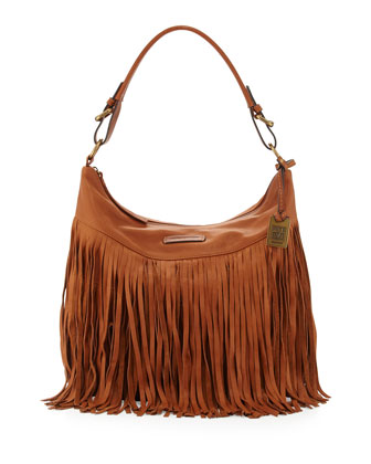 Heidi Leather Fringe Hobo Bag, Whiskey
