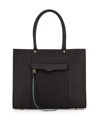 MAB Saffiano Medium Tote Bag, Black