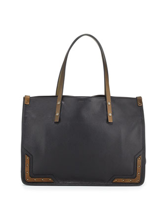 Granada Calf Leather Tote Bag, Black/Dark Brass