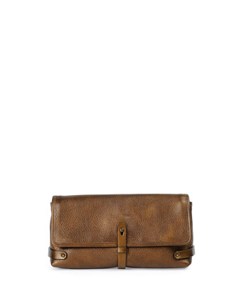 Granada Metallic Leather Clutch Bag, Dark Brass