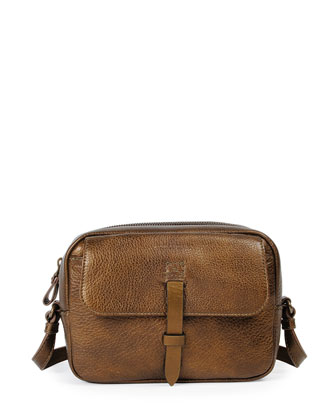 Granada Metallic Leather Camera Bag, Dark Brass