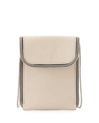 Mini Monili-Trim North-South Crossbody Bag, Natural