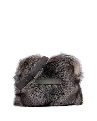 Fox Fur Messenger Bag w/Monili Strap, Silver