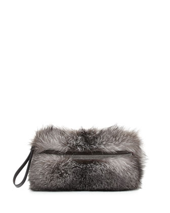 Fox Fur Medium Messenger Clutch Bag, Silver