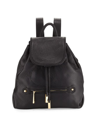 Drawstring Leather Backpack, Black