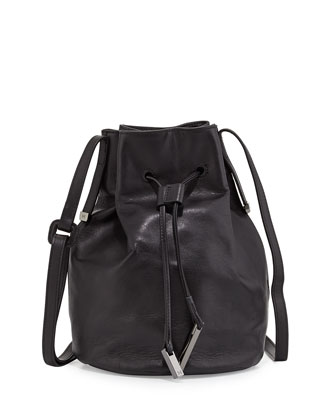 Drawstring Bucket Bag, Black