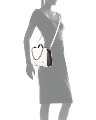 Two-Tone Chain-Detail Shoulder Bag, Bone