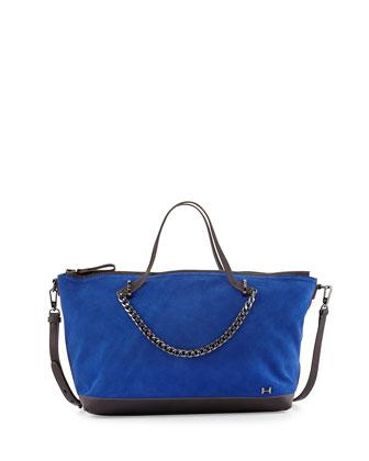 Two-Tone Satchel Bag, Cobalt
