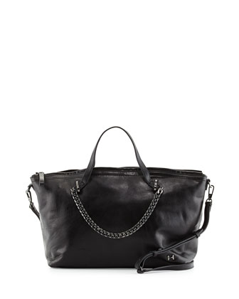 Leather Satchel Bag, Black