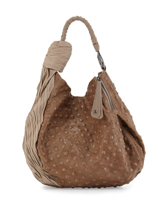 Two-Tone Hobo Bag, Dark Ash