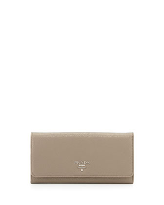 Textured Leather Continental Wallet, Gray (Argilla)