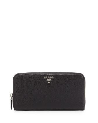 Vitello Phenix Zip-Around Wallet, Black (Nero)