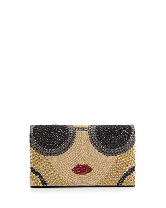 Stace Face Beaded Clutch Bag