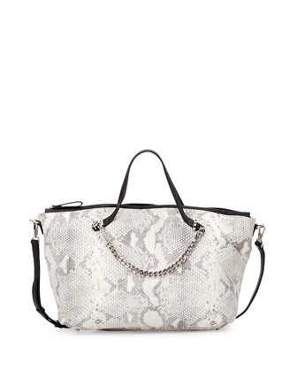 Snake-Embossed Two-Tone Satchel Bag, White