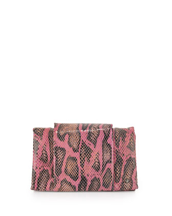 Snake-Embossed Wallet Clutch, Fuchsia
